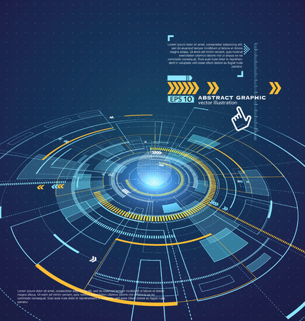 Illustration pour Three-dimensional interface technology, the future of user experience. - image libre de droit