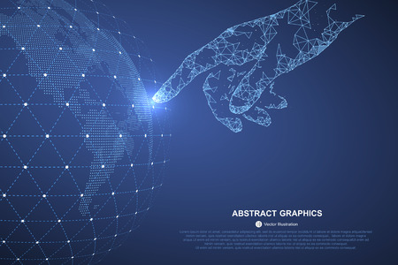 Illustration pour Touch the future, vector illustration of a sense of science and technology. - image libre de droit