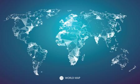 Illustration pour Point, line, surface composition of the world map, the implication of network connection. - image libre de droit