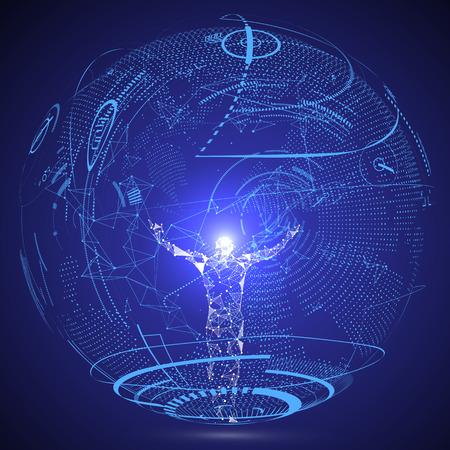 Ilustración de Lines connected to Science fiction scene, symbolizing the meaning of artificial intelligence. - Imagen libre de derechos
