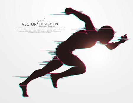 Ilustración de Running Man,flawed digital image,vector illustration. - Imagen libre de derechos