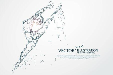Ilustración de Woman dancing ballet,Network connection turned into, vector illustration. - Imagen libre de derechos