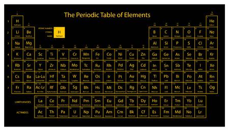 Ilustración de Periodic table of elements. Black and yellow colors. Vector illustration. - Imagen libre de derechos