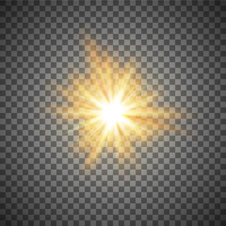 Ilustración de gold shining star or flash isolated on a transparent background - Imagen libre de derechos