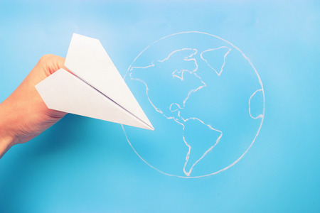 Photo for plane above world map. travel and tourism concept - Royalty Free Image