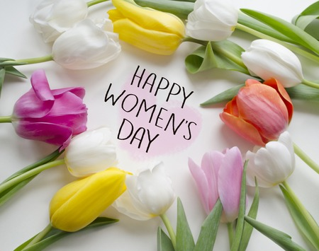 Photo for Happy women s Day tulips.8 March, International Woman's Day greeting card. - Royalty Free Image