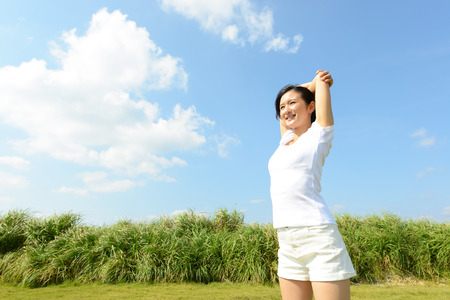 Photo for Beautiful woman doing stretch - Royalty Free Image