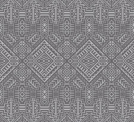 Illustration for Simmetric seamless pattern in ethnic style. Tribal geometric ornament, perfect for textile design, site background, wrapping paper and other endless fill. Trendy boho tile. - Royalty Free Image