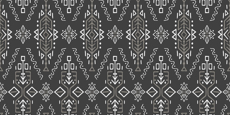 Illustration for Vector Seamless Pattern in Ethnic Style. Trendy hand drawn boho tile. Creative tribal endless ornament, perfect for textile design, wrapping paper, wallpaper or site background. - Royalty Free Image