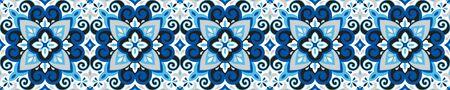Illustration pour Azulejos ceramic tile design. Talavera tracery motif. Unique creative endless fill swatch. Portuguese, Spanish, Mexican, Brazilian folklore ornament. Ethnic style vector hand drawn seamless pattern. - image libre de droit