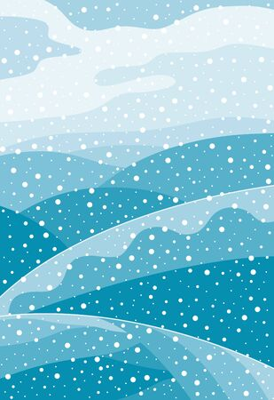 Illustration pour Winter hilly landscape with falling snow. Christmas card with snowfall. - image libre de droit