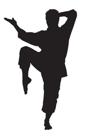 A silhouette of a karate man isolated against white background