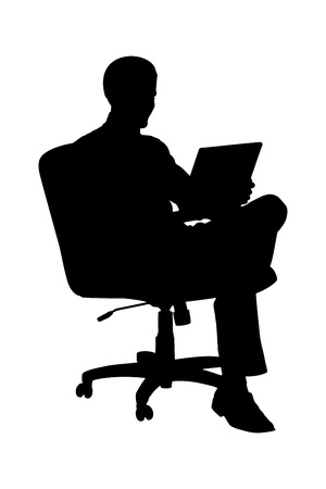 Illustration for A silhouette of a businessman sitting in office chair and working on laptop computer isolated on white background - Royalty Free Image