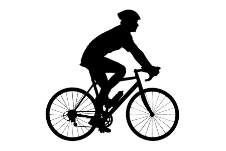 A silhouette of a male biker with helmet biking isolated against white background