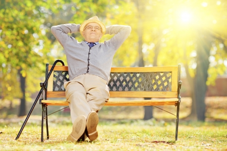 Photo for Relaxed senior gentleman sitting on wooden bench in a park on a sunny day  - Royalty Free Image