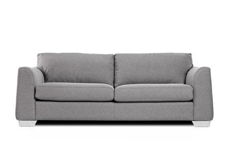 Foto de Studio shot of a grey modern sofa isolated on white background - Imagen libre de derechos