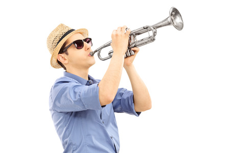 Photo for Young male musician playing trumpet isolated on white  - Royalty Free Image