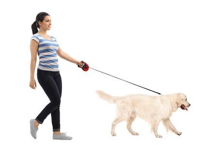 Photo for Full length profile shot of woman walking her dog isolated on white background - Royalty Free Image