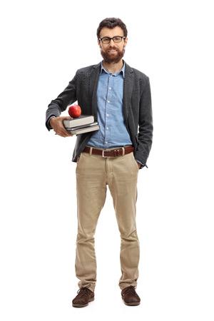Photo pour Full length portrait of a male teacher isolated on white background - image libre de droit