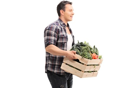 Farmer holding a crate full of vegetables isolated on white background