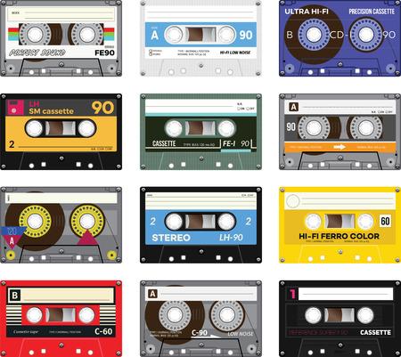 Illustration pour Retro plastic audio cassette, music cassette, cassette tape. Isolated on white background. Realistic illustration of old technology. Vintage tape. - image libre de droit