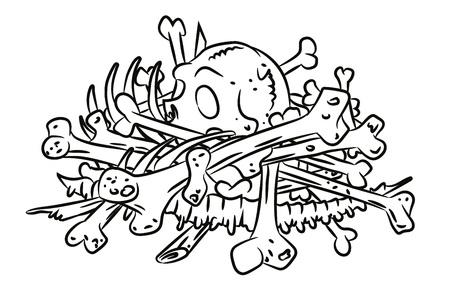Illustration pour Cartoon image of pile of bones - image libre de droit