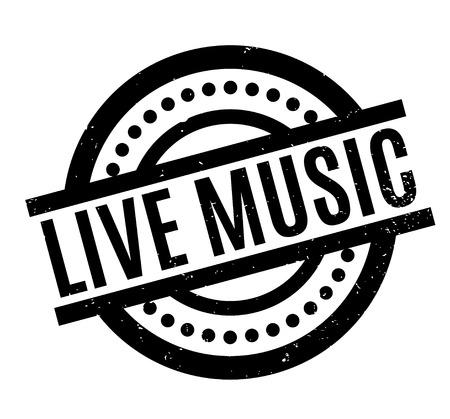 Ilustración de Live Music rubber stamp - Imagen libre de derechos