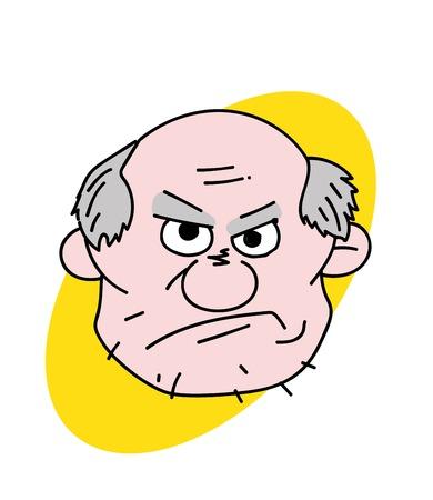 Illustration for Evil old man face Vector illustration. - Royalty Free Image