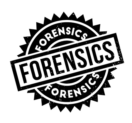 Ilustración de Forensics rubber stamp. Grunge design with dust scratches. Effects can be easily removed for a clean, crisp look. Color is easily changed. - Imagen libre de derechos