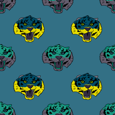 Illustrazione per Funky tiger face seamless pattern. Original design for print or digital media. Vector illustration. - Immagini Royalty Free