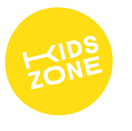 Illustration for kids zone stamp , label on white background , typographic design - Royalty Free Image