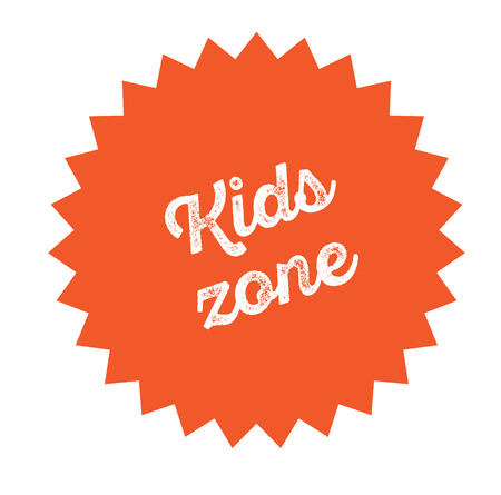 Illustration for kids zone stamp on white background . Sign, label, sticker - Royalty Free Image