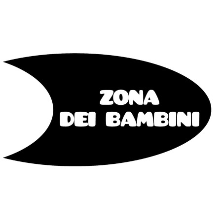 Illustration for kids zone black stamp in italian language. Sign, label, sticker - Royalty Free Image