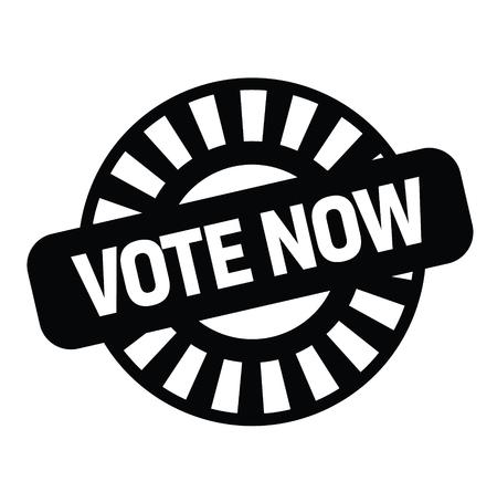 Ilustración de vote now black stamp on white background. Sign, label, sticker - Imagen libre de derechos