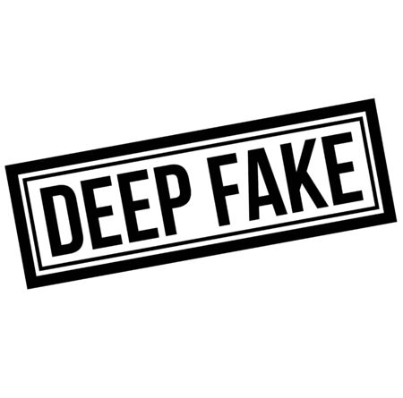 Illustration pour Deep fake black stamp on white background. Fake video created using modern technology to manipulate audience. - image libre de droit
