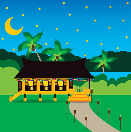 Illustration for   Hari raya aidilfitri celebration in Village  - Royalty Free Image