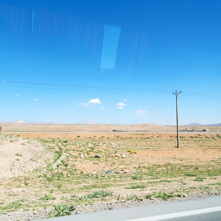 in iran mountain and landscape from the window  of a car