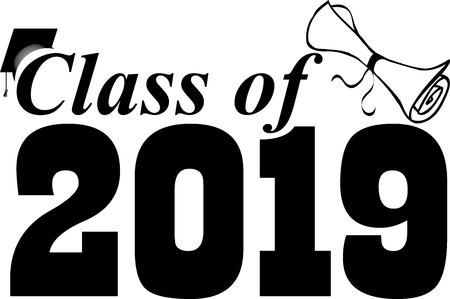 Illustration pour Class of 2019 Banner with Cap and Diploma - image libre de droit