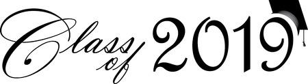 Illustration pour Class of 2019 Script with Graduation Cap - image libre de droit