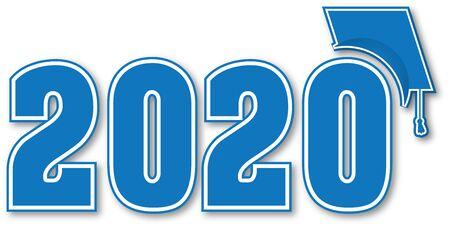 Illustration pour Blue Class of 2020 with Graduation Cap - image libre de droit