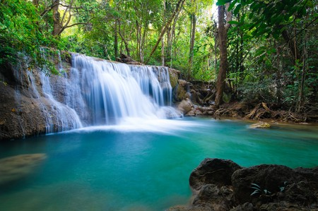 Photo for Deep forest Waterfall in Kanchanaburi, Thailand - Royalty Free Image