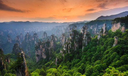 Photo for Zhangjiajie National forest park at sunset, Wulingyuan, Hunan, China - Royalty Free Image