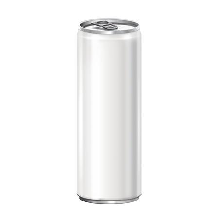 White aluminum can on white background