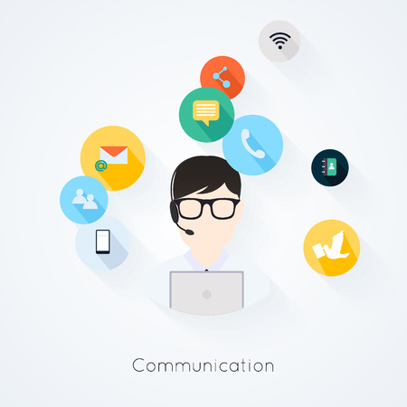 Illustration pour Business customer care service concept flat icons set of contact us support help desk phone call and website click for infographics design web elements vector illustration - image libre de droit