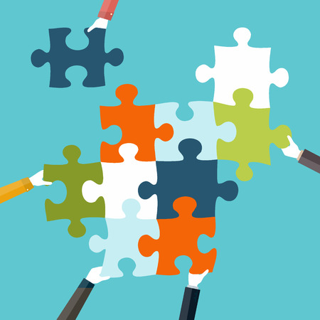 Illustration pour Concept of teamwork and integration with businessman holding colorful puzzle - image libre de droit