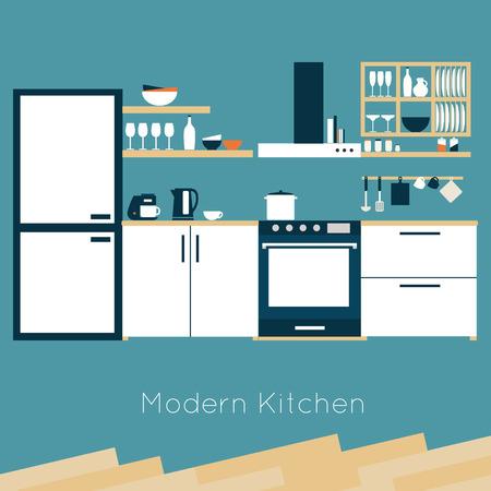 Illustration pour Kitchen interior vector illustration - image libre de droit