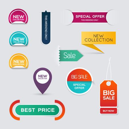 Illustration pour Collection of Sale Discount Styled origami Banners.  - image libre de droit