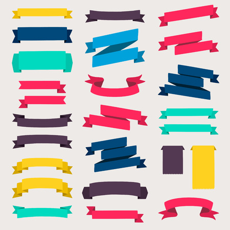 Illustration pour Set of design elements banners ribbons. - image libre de droit