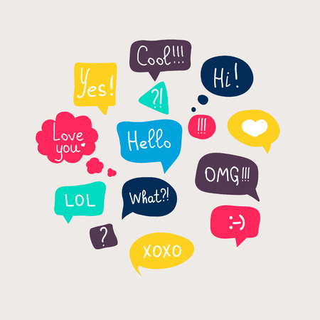 Illustration for Colorful questions speech bubbles set in flat design with short messages. - Royalty Free Image