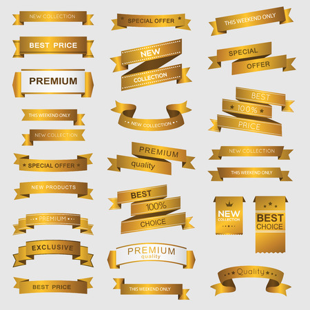 Ilustración de Collection of golden premium promo banners. isolated vector illustration - Imagen libre de derechos